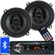 Rádio Mp3 Automotivo Bluetooth Fm Usb 6690BSC + Par Alto Falante Roadstar 5 Pol 110W Rms RS-155