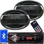 Rádio Mp3 Automotivo Bluetooth Fm Usb 6690BSC + Par Alto Falante Roadstar 6x9 Pol 240W Rms RS-695