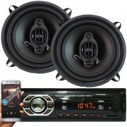 Rádio Mp3 Automotivo Bluetooth Winner Fm Usb + Par Alto Falante Roadstar 5 Pol 110W Rms