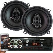 Rádio Mp3 Automotivo Bluetooth Winner Fm Usb + Par Alto Falante Roadstar 5 Pol 110W Rms