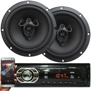 Rádio Mp3 Automotivo Bluetooth Winner Fm Usb + Par Alto Falante Roadstar 6,5 Pol 130W Rms