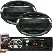 Rádio Mp3 Automotivo Bluetooth Winner Fm Usb + Par Alto Falante Roadstar 6x9 Pol 240W Rms