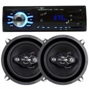 Rádio Mp3 Automotivo D-Max D6080 Fm Usb Sd Aux + Par Alto Falante 5 Polegadas 100W Rms Quadriaxial