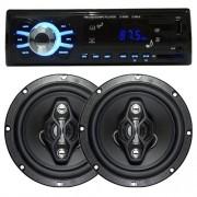 Rádio Mp3 Automotivo D-Max D6080 Fm Usb Sd Aux + Par Alto Falante 6,5 Polegadas 120W Rms Quadriaxial