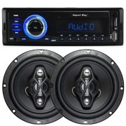 Rádio Mp3 Automotivo Importway KV-9602 Fm Usb Sd Aux + Par Alto Falante 6,5 Pol 120W Rms Quadriaxial