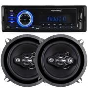 Rádio Mp3 Automotivo Importway KV-9602 Usb Sd Aux + Par Alto Falante 5 Pol 100W Rms Quadriaxial