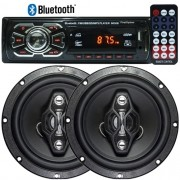 Rádio Mp3 Player Automotivo Bluetooth Fm Usb Controle + Par Alto Falante 6,5 Pol 120W Rms