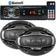 Rádio Mp3 Player Automotivo Bluetooth Fm Usb Controle + Par Alto Falante 6x9 200W Rms Quadriaxial