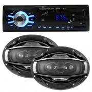 Rádio Mp3 Player Automotivo D-Max Fm Usb Sd Aux + Par Alto Falante 6x9 200W Rms Quadriaxial