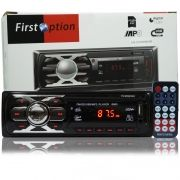 Auto Rádio Som Mp3 Player Automotivo Carro First Option 6660 Fm Sd Usb Controle