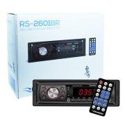Rádio Mp3 Player Automotivo Toca Som Roadstar RS-2601BR Fm Usb Sd Aux Controle