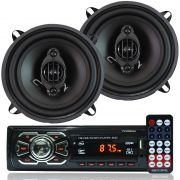 Rádio Mp3 Player Carro Som Automotivo Fm Sd Usb + Par Alto Falante Roadstar 5 Polegadas 110W Rms
