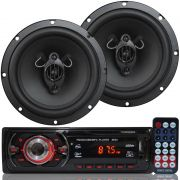 Rádio Mp3 Player Som Automotivo First Option Mp3-8650 + Par Alto Falante Roadstar 6,5 Pol 130W Rms
