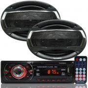 Rádio Mp3 Player Som Automotivo First Option MP3-8650 + Par Alto Falante Roadstar 6x9 Pol 240W Rms