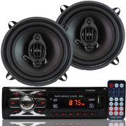 Rádio Mp3 Player Som Automotivo Fm Usb First Option 6660 + Par Alto Falante Roadstar 5 Pol 110W Rms