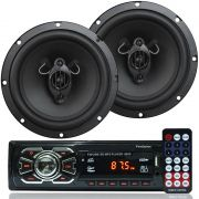 Rádio Mp3 Player Som Automotivo Usb First Option 6620 + Par Alto Falante Roadstar 6,5 Pol 130W Rms