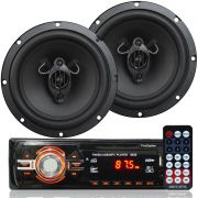Rádio Mp3 Player Som Automotivo Usb First Option 6630 + Par Alto Falante Roadstar 6,5 Pol 130W Rms