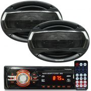Rádio Mp3 Player Som Automotivo Usb First Option 6630 + Par Alto Falante Roadstar 6x9 Pol 240W Rms