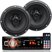 Rádio Mp3 Player Som Automotivo Usb First Option 6650 + Par Alto Falante Roadstar 6,5 Pol 130W Rms