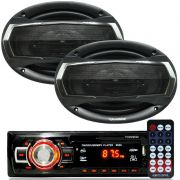 Rádio Mp3 Player Som Automotivo Usb First Option 6650 + Par Alto Falante Roadstar 6x9 Pol 240W Rms