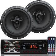 Rádio Mp3 Player Som Automotivo Usb First Option 6660 + Par Alto Falante Roadstar 6,5 Pol 130W Rms
