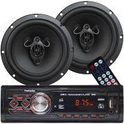 Rádio Mp3 Player Som Automotivo Usb First Option 8860 + Par Alto Falante Roadstar 6,5 Pol 130W Rms