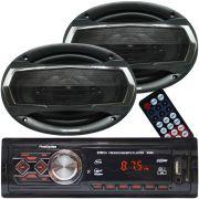 Rádio Mp3 Player Som Automotivo Usb First Option 8860 + Par Alto Falante Roadstar 6x9 Pol 240W Rms