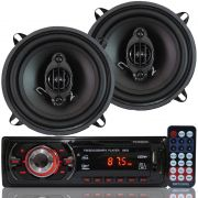 Rádio Mp3 Player Som Automotivo Usb First Option Mp3-8650 + Par Alto Falante Roadstar 5 Pol 110W Rms
