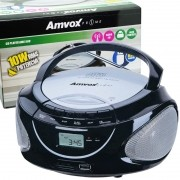 Rádio Portátil Boombox Som Cd Mp3 Player Usb Sd Fm Am Bivolt Amvox AMC 590 Preto