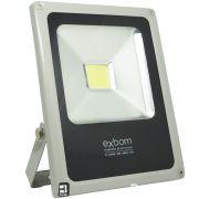 Refletor Holofote Led 20W Prova Dágua Branco Frio 6500K Slim Bivolt Exbom RL-C5B20W Prata