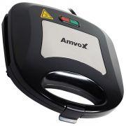 Sanduicheira e Grill Elétrica 110V 127V 750W Dupla Antiaderente Amvox AMS 500 New Preta Inox