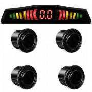 Sensor de Ré Estacionamento 4 Pontos Display Led First Option 18mm Preto Brilhante