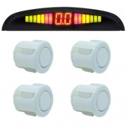 Sensor de Ré Estacionamento Universal 4 Pontos Display Led 18mm Branco