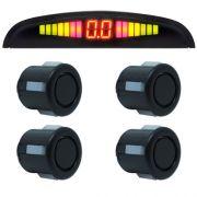 Sensor de Ré Estacionamento Universal 4 Pontos Display Led Preto Fosco