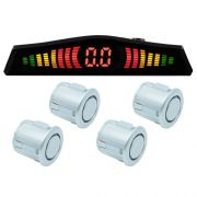 Sensor de Ré Estacionamento Universal 4 Pontos Display Led Tech One 18mm T1SE4PPA Prata