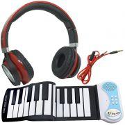 Teclado Musical Digital Flexível Silicone 37 Teclas Midi Piano Eletrônico PN37 Fone Vermelho Preto