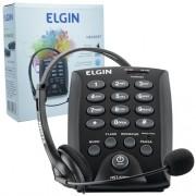 Telefone Headset com Base Discadora Teclado Elgin HST 6000 Telemarketing Preto