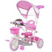 Triciclo Motoca Infantil Passeio com Empurrador Pedal Luz Som Capota Importway BW-003 Rosa