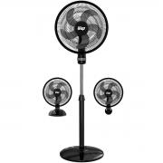 Ventilador 3 em 1 Parede Coluna Mesa 50cm 130W Turbão 5 Pás Grade Preto Wap Rajada Turbo W130