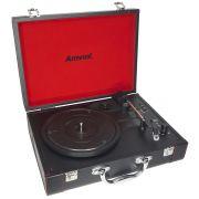 Vitrola Toca Disco Vinil Retrô Antiga Usb Bluetooth Case Couro Bateria Bivolt Amvox AVT 1299