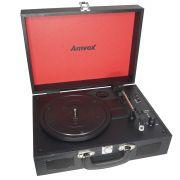 Vitrola Toca Disco Vinil Retrô Antiga Usb Bluetooth Case Madeira Bateria Bivolt Amvox AVT 1199
