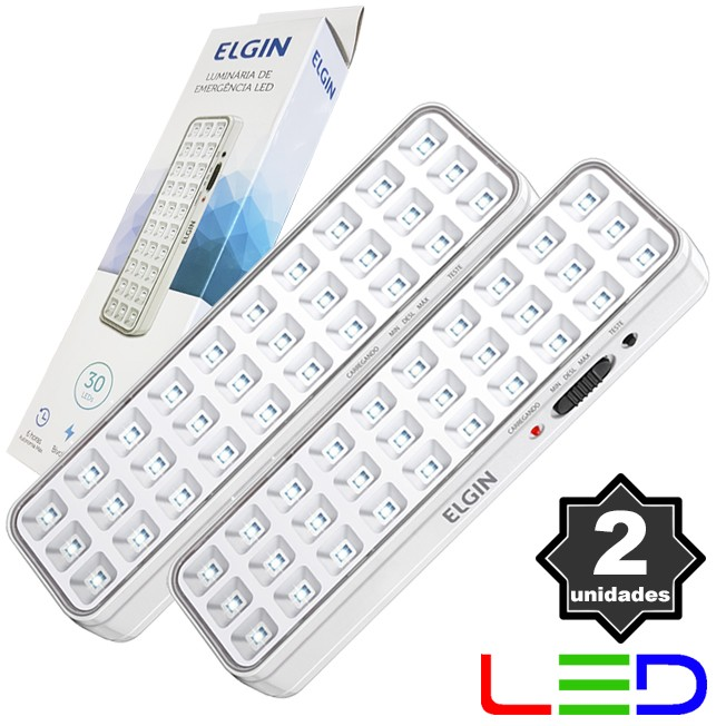 2 Luminárias de Emergência Bivolt 30 Leds 2W Elgin Recarregável Luz Branco Frio  - BEST SALE SHOP