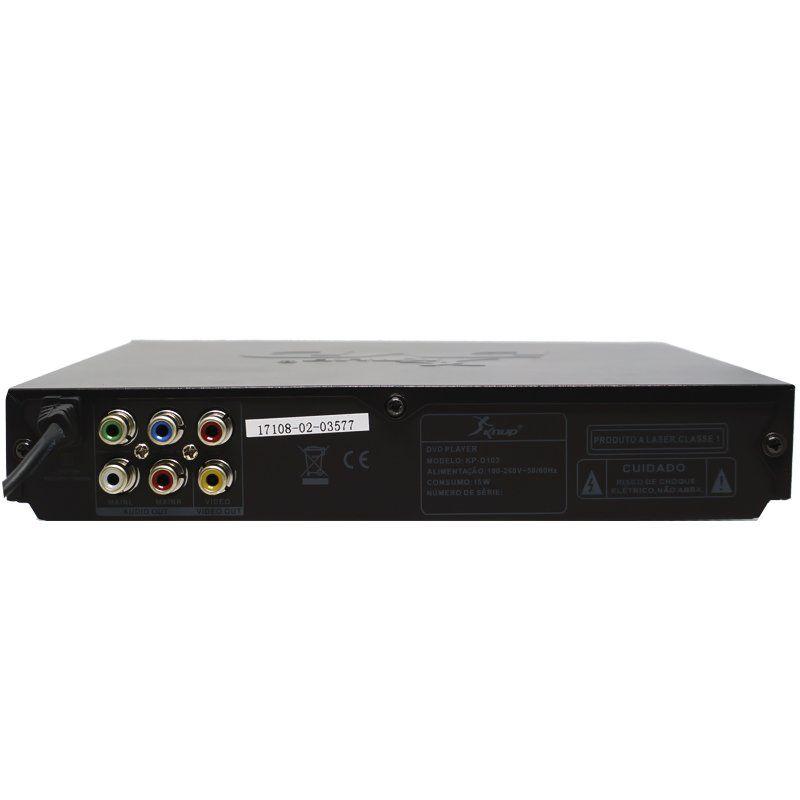 Aparelho Dvd Player Rca 2.0 Canais Usb Mp3 Cd Ripping Karaoke Microfone Knup Preto KP-D103 Bivolt