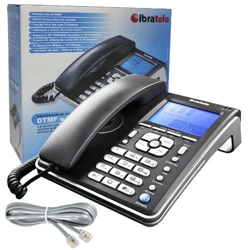 Aparelho Telefone Fixo Com Fio Identificador de Chamadas Bina Viva Voz Ibratele  - BEST SALE SHOP