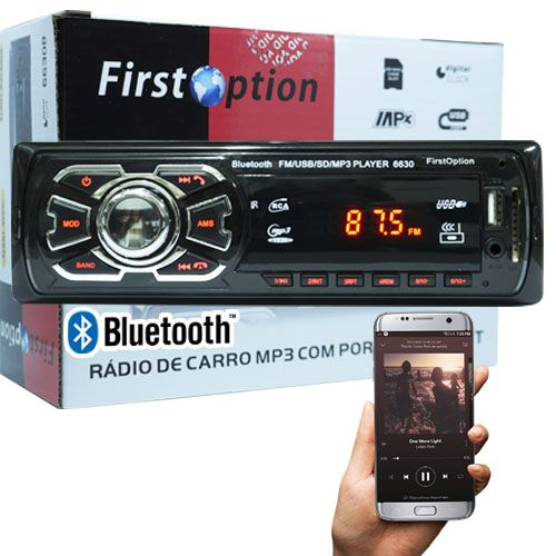 Auto Rádio Som Mp3 Player Automotivo Carro Bluetooth First Option 6630BS Fm Sd Usb