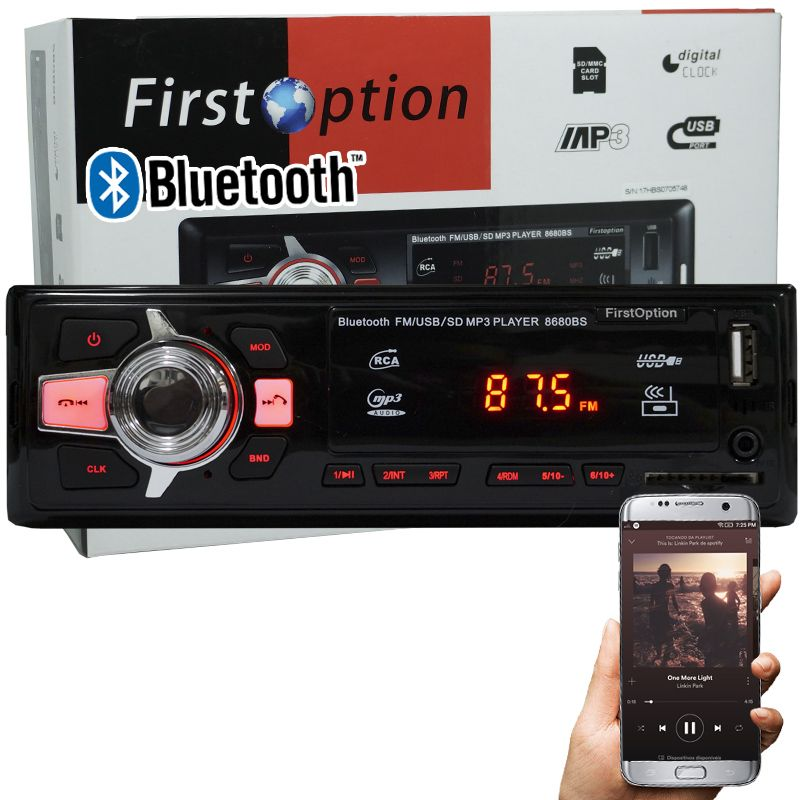 Auto Rádio Som Mp3 Player Automotivo Carro Bluetooth First Option 8680BS Fm Sd Usb Aux