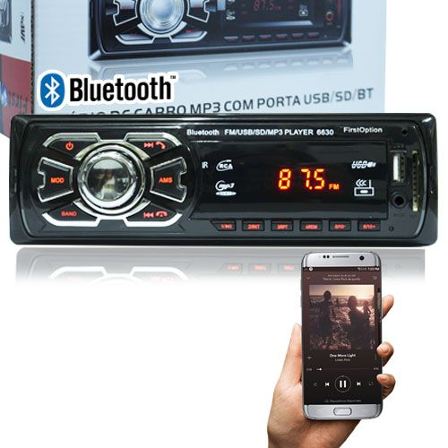 Auto Rádio Som Mp3 Player Automotivo Carro Bluetooth First Option Fm Sd Usb Aux