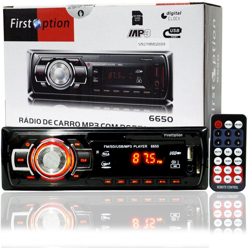 Auto Rádio Som Mp3 Player Automotivo Carro First Option 6650 Fm Sd Usb Controle