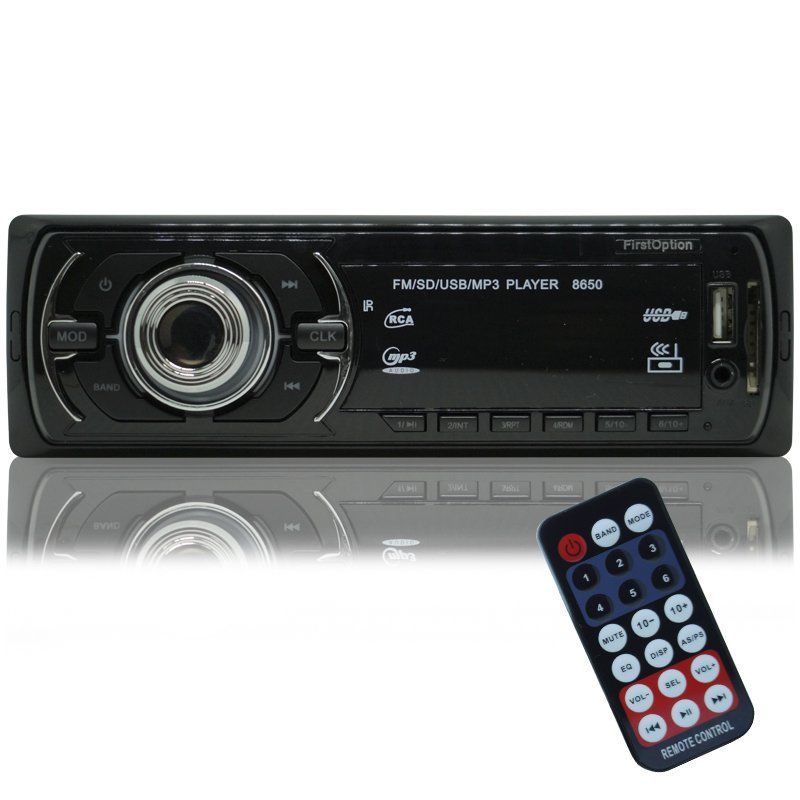 Auto Rádio Som Mp3 Player Automotivo Carro First Option 8650 Fm Sd Usb Controle