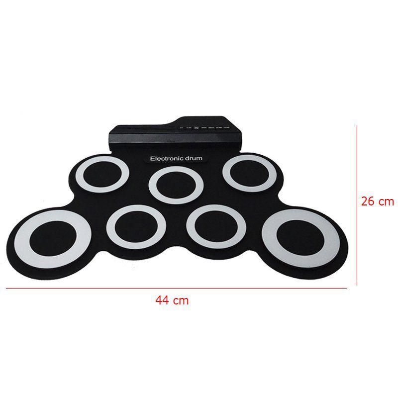 Bateria Elêtronica Musical Portátil Silicone Digital Drum 7 Pads 2 Pedais Baqueta IW-G3002 Preta
